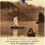 Rassemblement de bateaux et voiliers bois anciens sur le Lac d'Annecy.